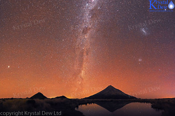 MIlkyway & Taranaki Reflected in Poukai Tarn