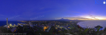 New Plymouth at dusk from Paritutu