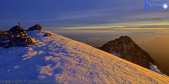 Summit of taranaki at sunrise