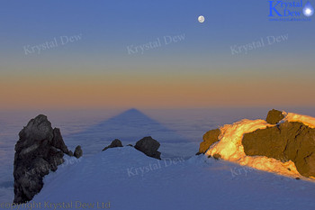 Supermoon over the Shadow Of Taranaki at dawn