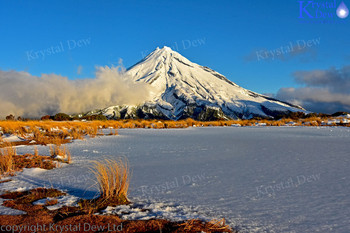 Taranaki from Pouakai tarn in winter
