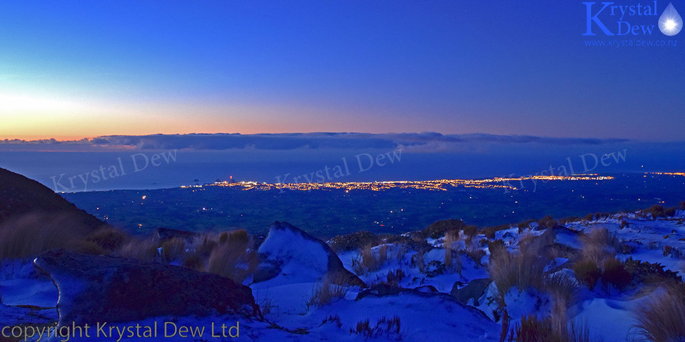 New Plymouth city lights from Pouakai ranges in winter