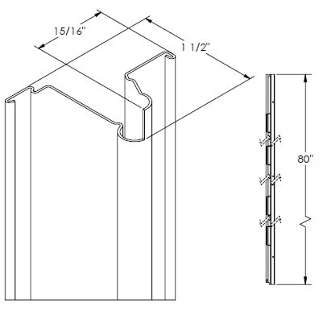 Picture of: White Hinge Rail For 80 Inch Door Older Model