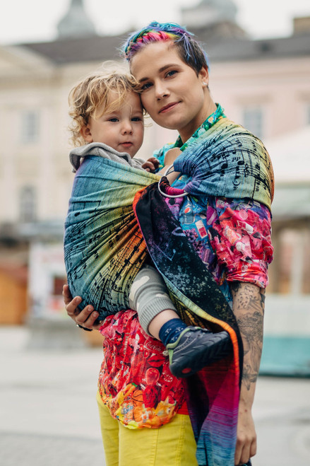 LennyLamb Ring Sling  with gathered shoulder, 1.8m (Symphony Rainbow Dark) - Try it before you Buy it