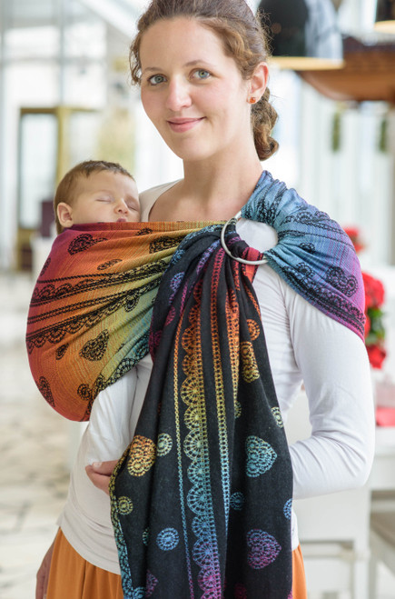 LennyLamb Ring Sling with gathered shoulder, 1.8m (Rainbow Lace Dark)