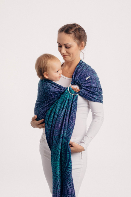 LennyLamb Ring Sling with gathered shoulder, 1.8m (Peacock's Tail Provance)