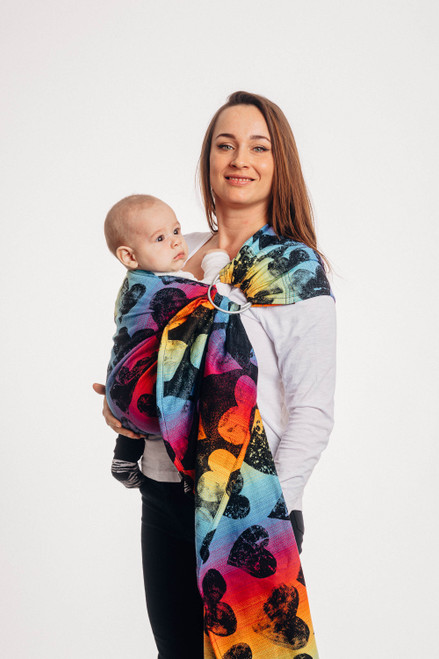 LennyLamb Ring Sling with gathered shoulder, 1.8m (Lovka Rainbow Dark)