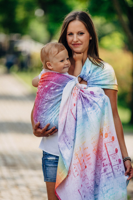 LennyLamb Ring Sling with gathered shoulder, 1.8m (Symphony Rainbow Light)