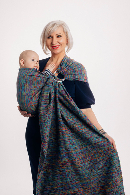 LennyLamb Ring Sling with gathered shoulder, 1.8m (Colourful Wind)