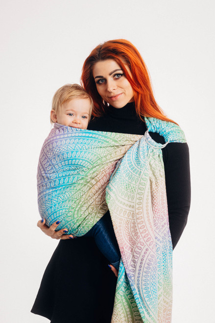 LennyLamb Ring Sling with gathered shoulder, 1.8m (Peacock's Tail Bubble)