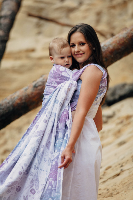 LennyLamb Woven Baby Wrap (Dragonfly Lavender) - size 5