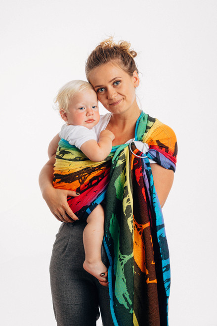 LennyLamb Ring Sling with gathered shoulder, 1.8m (Rainbow Safari) - LIMITED EDITION