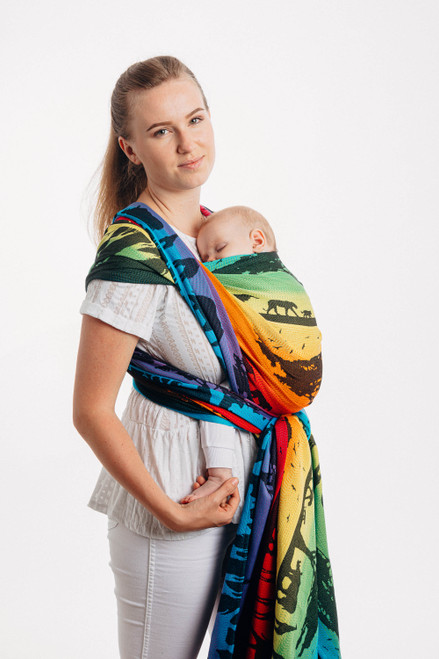 LennyLamb Woven Baby Wrap (Rainbow Safari) - size 6 - LIMITED EDITION