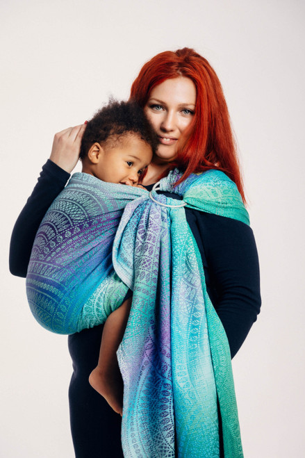 LennyLamb Ring Sling with gathered shoulder, 1.8m (Peacock's Tail Fantasy)