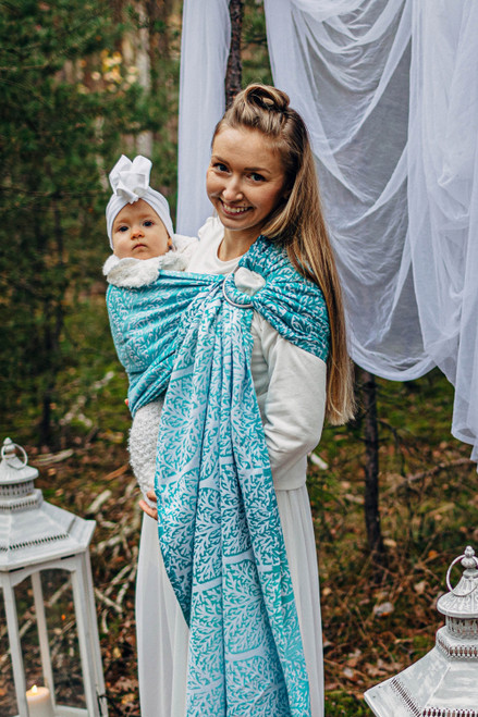 LennyLamb Ring Sling with gathered shoulder, 1.8m (Woodland Frost) - LIMITED EDITION