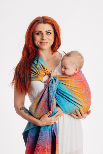 LennyLamb Ring Sling with gathered shoulder, 1.8m (Peacock's Tail Sunset)