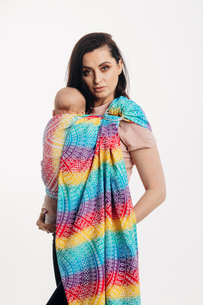 LennyLamb Ring Sling with gathered shoulder, 1.8m (Peacock's Tail Funfair)