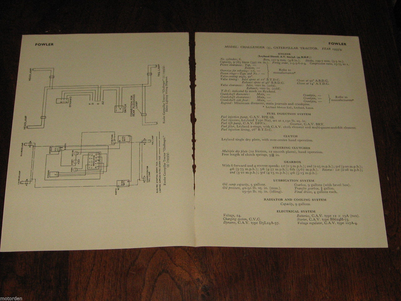 FERGUSON TRACTOR TE-A20 TEF-20 petrol sel 1954 data+wiring chart 3p on