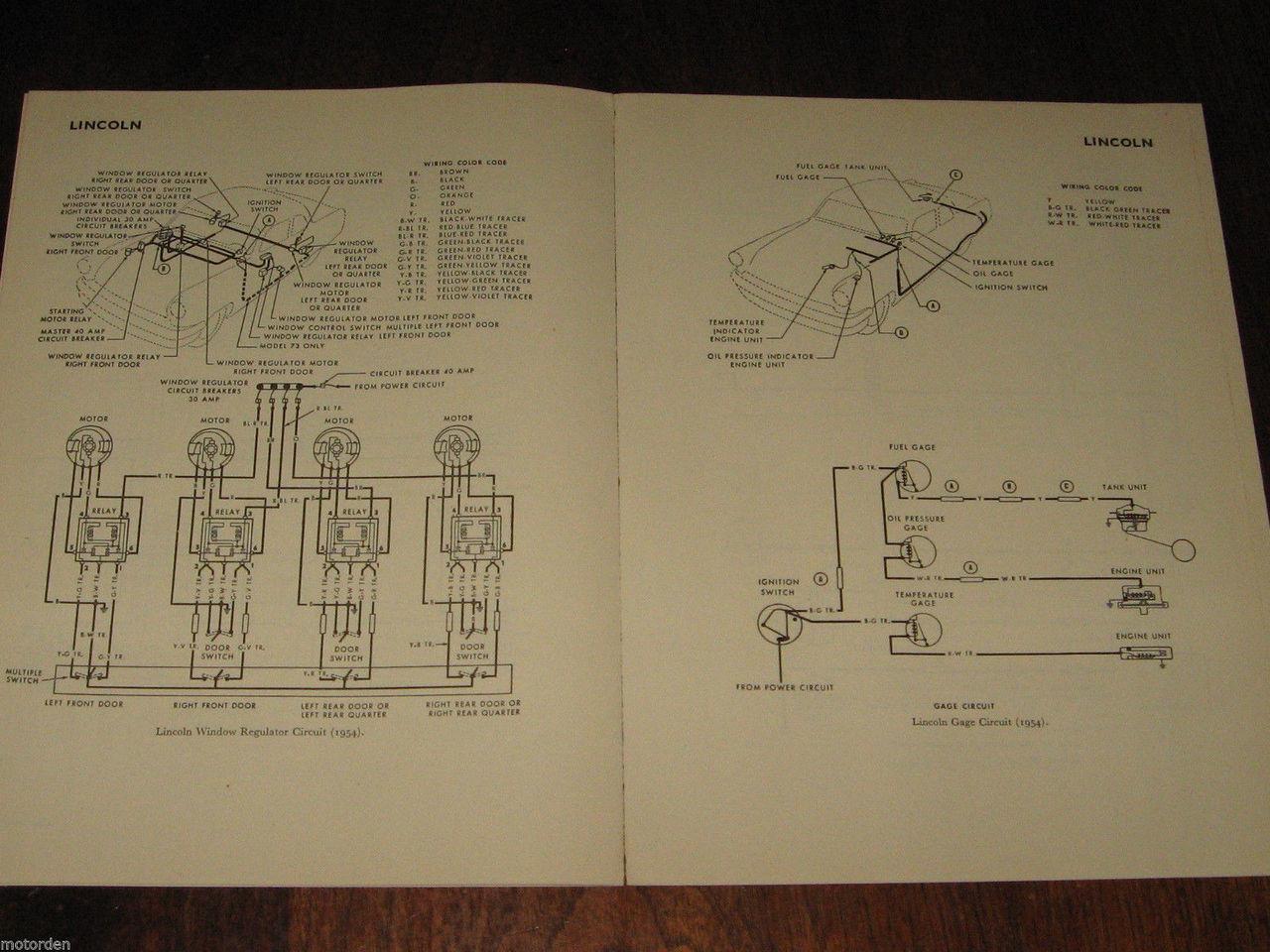 lincoln 1952 1954 data wiring diagrams inc electric windows 15pp 1956 free post 1954 lincoln repair shop manual