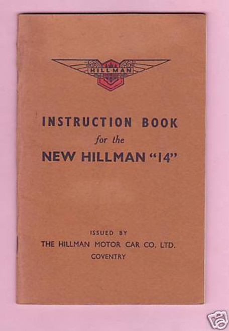 'NEW HILLMAN 14' orig pre WW2 vintage HANDBOOK superb condition, FREE POST!