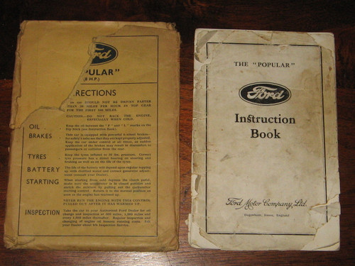 "1930's ENGLISH Ford ""POPULAR"" INSTRUCTION BOOK + original envelope FREE POST!"