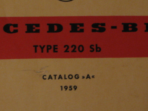 1959 MERCEDES-BENZ TYPE 220 Sb CATALOG A, ILL'D PARTS BOOK, nice cond. FREE POST