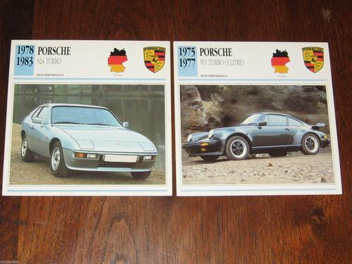 1975-1983 PORSCHE 911 3 LITRE TURBO & 924 TURBO 2 col photo+spec CARDS FREE POST