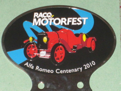 ALFA ROMEO Centenary CAR BADGE G1, RACQ 2010 Motorfest metal Auto Club FREE POST