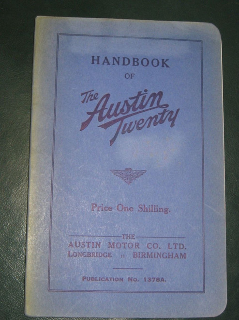 Austin TWENTY or 20 original 1937 Illustrated HANDBOOK superb example FREE POST