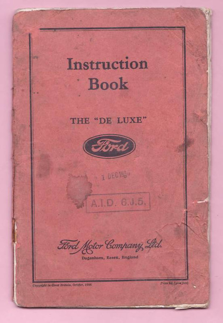 ENGLISH FORD DE LUXE 1936 INSTRUCTION BOOK FREE POST