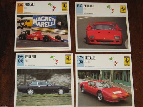 FERRARI 512BB 412 F40 640 Formula1 : 4 color photos+specificat. CARDS, FREE POST