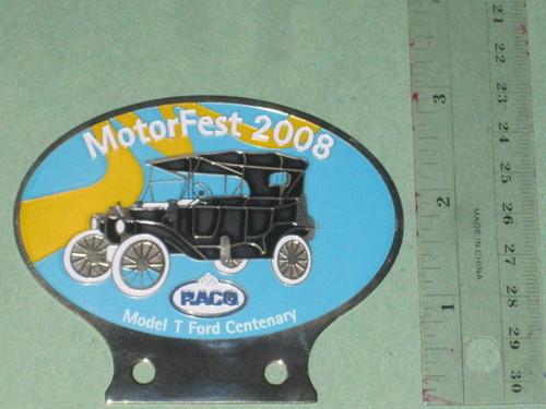 FORD Model T Centenary CAR BADGE, 2008 RACQ Motorfest metal Auto Club, FREE POST