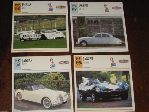JAGUAR D-TYPE, MKVII, XK150+XJR-6 SILK CUT 4 color photo+specs. CARDS, FREE POST