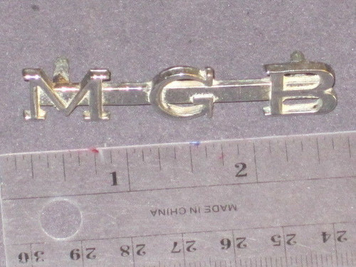 MGB early original chrome metal boot badge open letters MG FREE POST NR