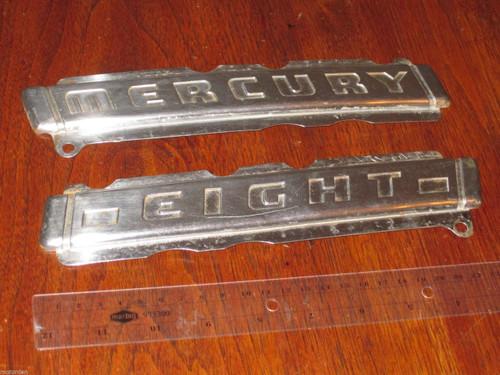 "original PAIR old Ford MERCURY EIGHT stainless metal CAR BADGES 9 3/8"" FREE POST"