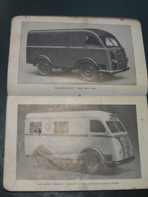 Rare 1948 AUSTIN 25cwt  3 Way VAN Welfarer AMBULANCE Instruction Book FREE POST