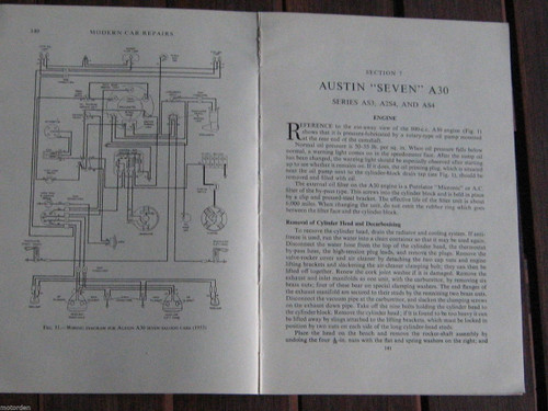 "AUSTIN ""SEVEN"" A30 Series AS3+A2S4+AS4, 15p period inst+wiring 1950's, FREE POST"