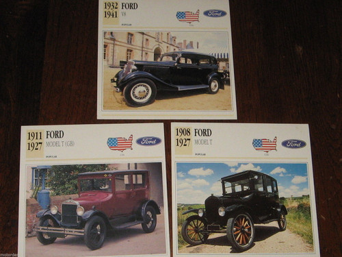 FORD MODEL T (inc GB made!) & V8 3 color photos+specificat. CARDS, FREE POST