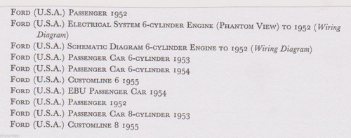 FORD USA Customline 6 & 8 cylinder 1952-1955 data+wiring diagrams 10pp FREE POST