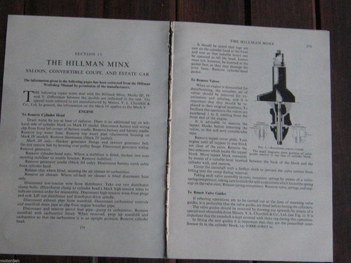 HILLMAN MINX Saloon Convertible Coupe Estate period service 19p 1950's FREE POST