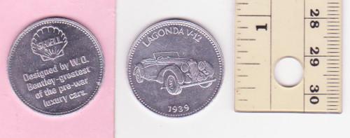LAGONDA V12 1939 SHELL oil/petrol METAL MEDALLION token? FREE POST