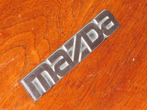 "MAZDA chrome letters on black CAR BADGE EMBLEM 5 1/4"" or 133mm long, FREE POST"
