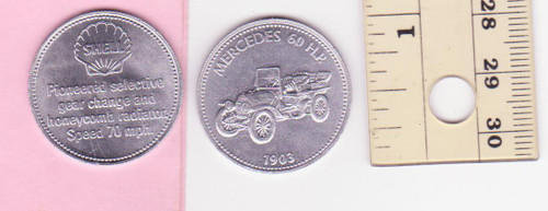 MERCEDES 60HP 1903 SHELL oil/petrol METAL MEDALLION token? coin? FREE POST