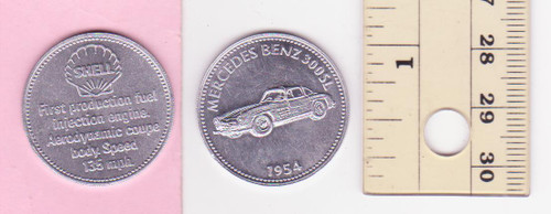 MERCEDES BENZ 300SL 1954  SHELL oil/petrol METAL MEDALLION token? FREE POST