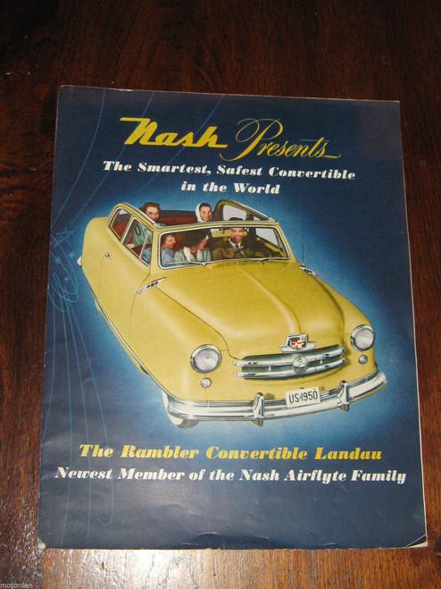 "Nash Rambler Convertible Landau colour sales folder opens to 23"" x 18"" FREE POST"