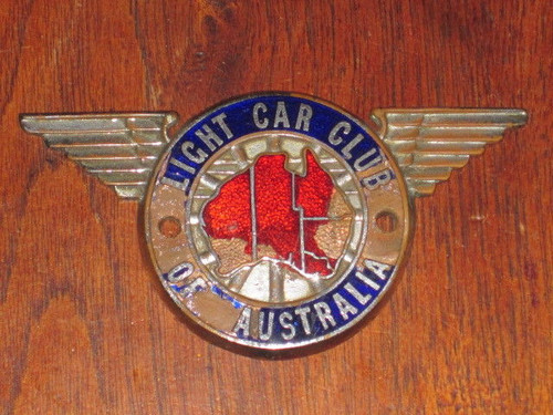 original LIGHT CAR CLUB AUSTRALIA member RACE CAR BADGE straight wings FREE POST