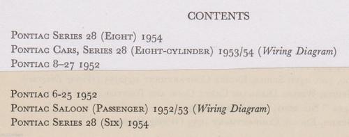 PONTIAC 28 & 8-27 Eight cyl 1952-54 data+wiring diagrams 6pp pub. 1956 FREE POST