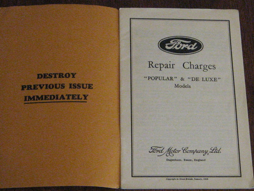 """RARE 1930's ENGLISH Ford """"POPULAR & DE LUXE"""" REPAIR CHARGES, booklet FREE POST"""