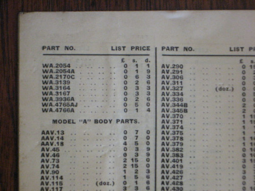 Rare AUSTRALIA FORD MODEL T & MODEL A 30 page PARTS LIST, FREE POST