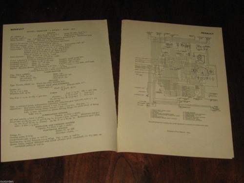 RENAULT 750 Fregate 760 Eight 1949-54 data+wiring diagrams 7pp. 1956, FREE POST